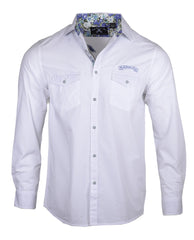 Men's Long Sleeve Embroidered Guitar Casual Fashion Button Up Shirt - More than words in White by Rock Roll n Soul1