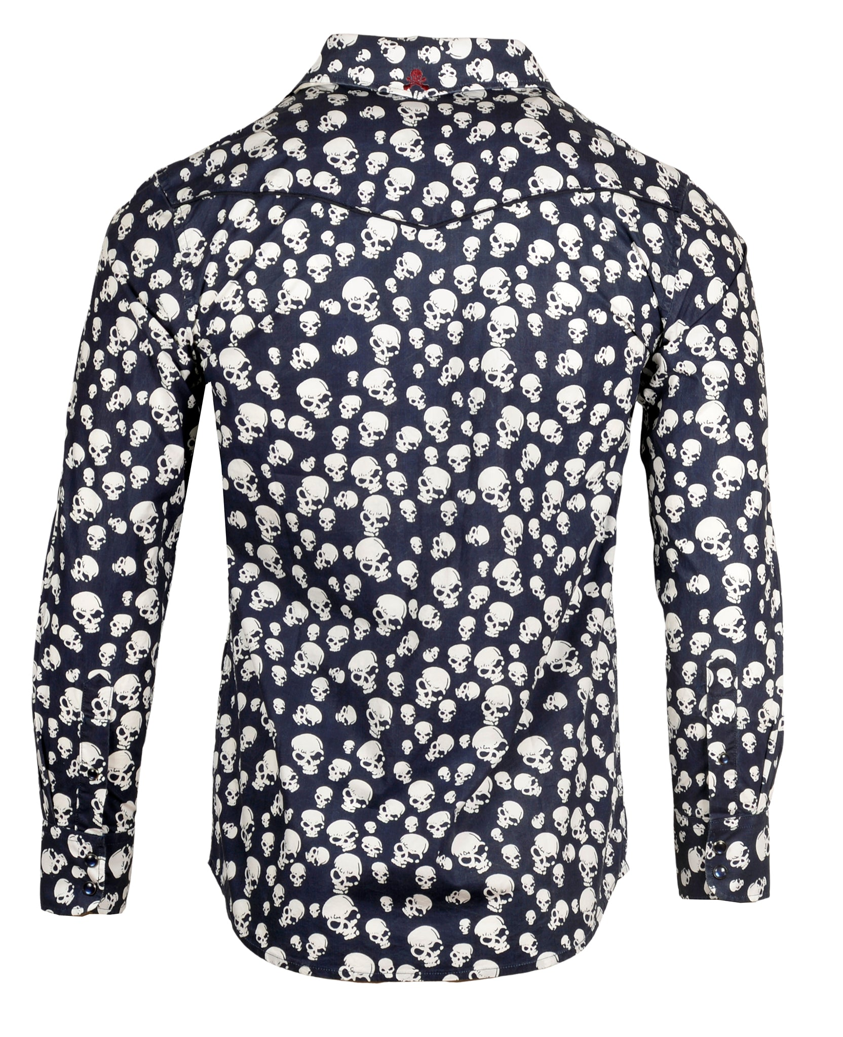 Men's Skull Design Fashion Button Up Shirt - Pompeii in Navy by Rock Roll n Soul2