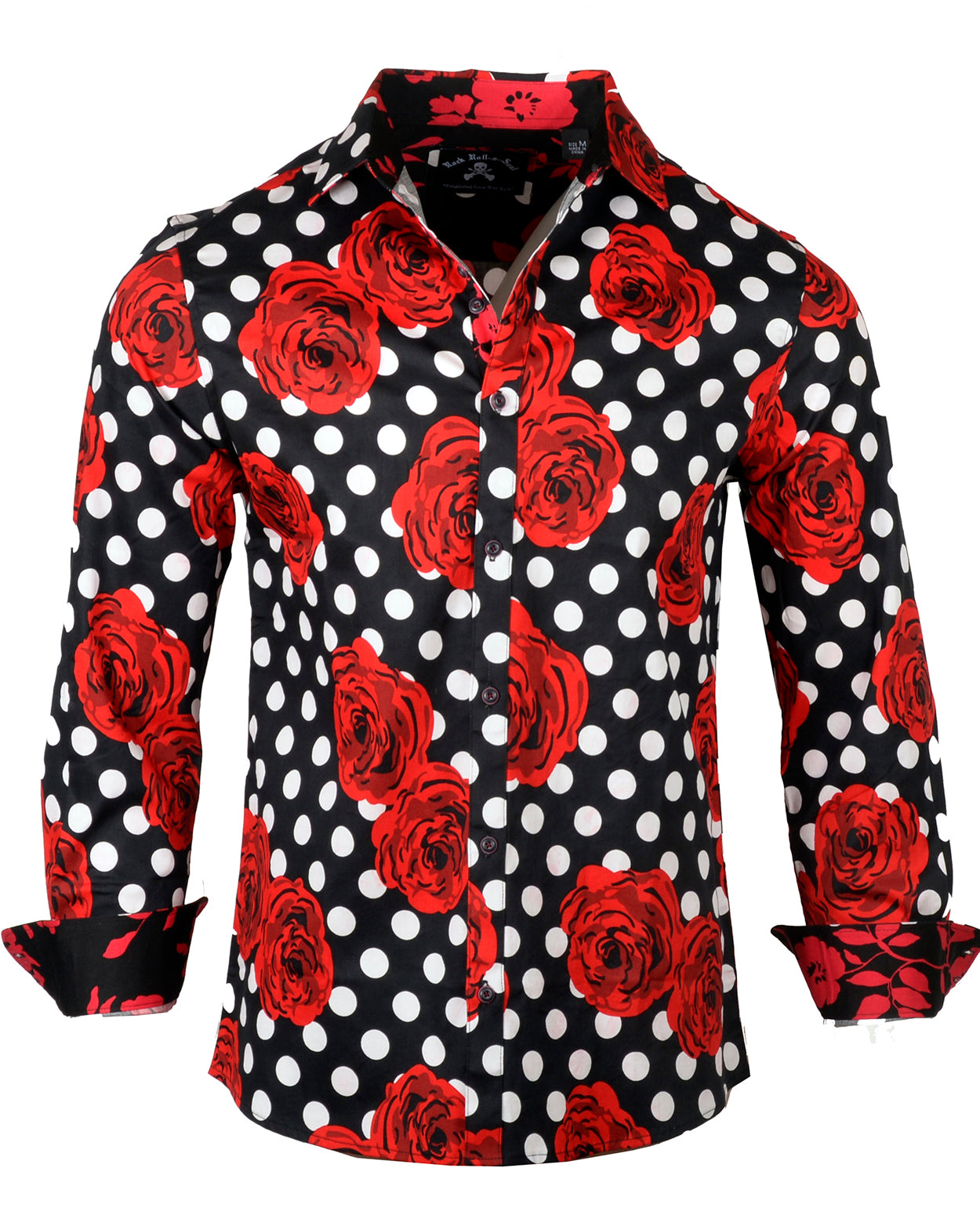 Men's Casual Fashion Button Up Shirt - Blood and Roses by Rock Roll n Soul