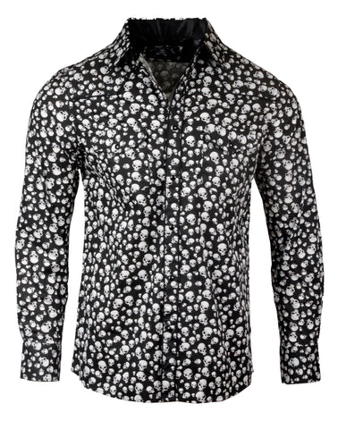 Men's Skull Casual Fashion Button Up Shirt - I'm Your Boogieman by Rock Roll n Soul