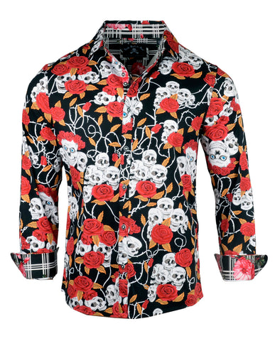 Men's Casual Fashion Button Up Shirt - Killed by Death by Rock Roll n Soul
