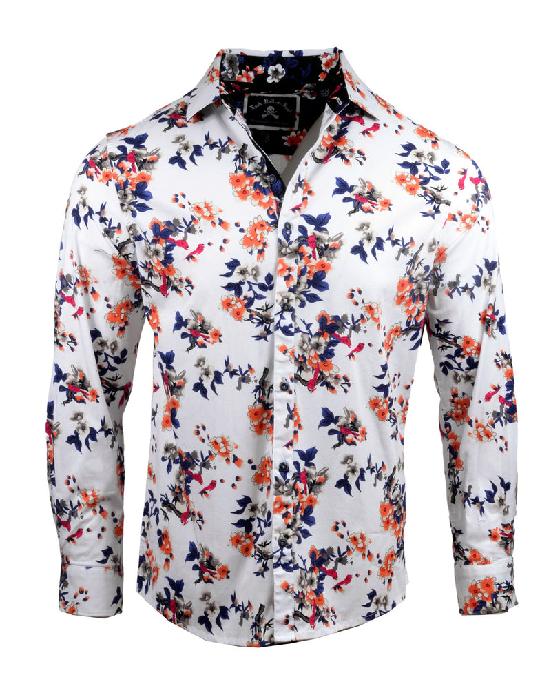 Men's Casual Fashion Button Up Shirt - Sharp Dressed Man in White by Rock Roll n Soul