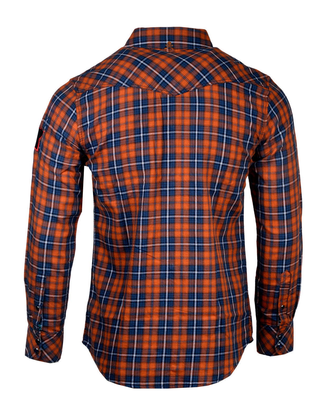 Men's Casual Fashion Button Up Plaid Shirt - Orange  Crush by Rock Roll n Soul12