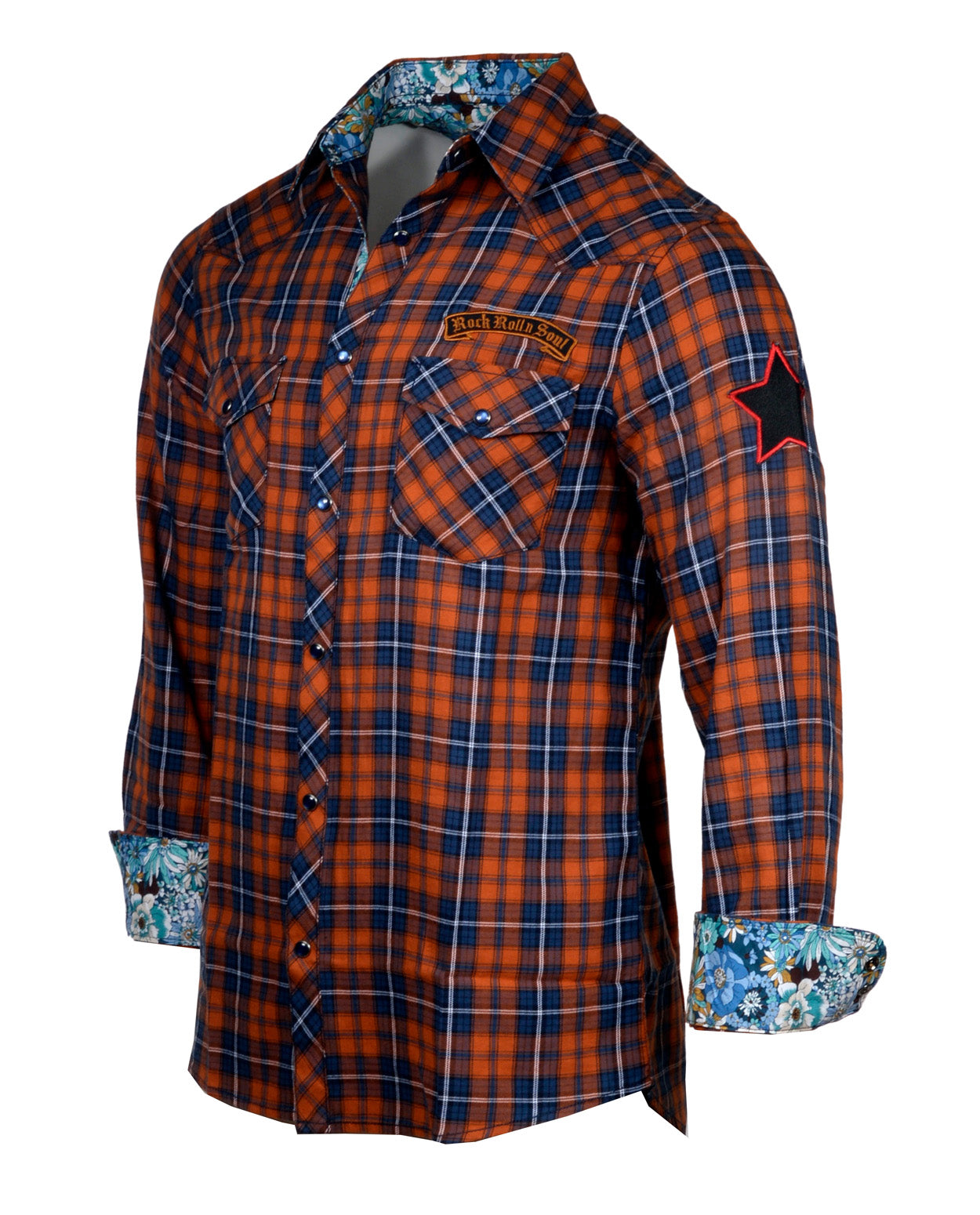 Men's Casual Fashion Button Up Plaid Shirt - Orange  Crush by Rock Roll n Soul1