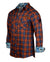 Men's Casual Fashion Button Up Plaid Shirt - OrangeCrush by Rock Roll n Soul1