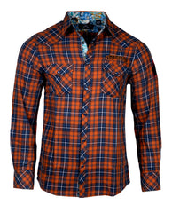 Men's Casual Fashion Button Up Plaid Shirt - Orange  Crush by Rock Roll n Soul