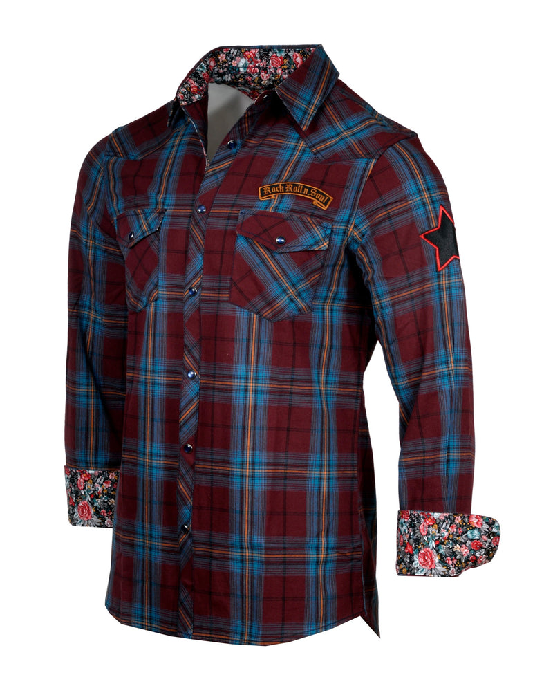 Men's Casual Fashion Button Up Plaid Shirt - Guitars and Cadillac's by Rock Roll n Soul0