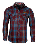 Men's Casual Fashion Button Up Plaid Shirt - Guitars and Cadillac's by Rock Roll n Soul
