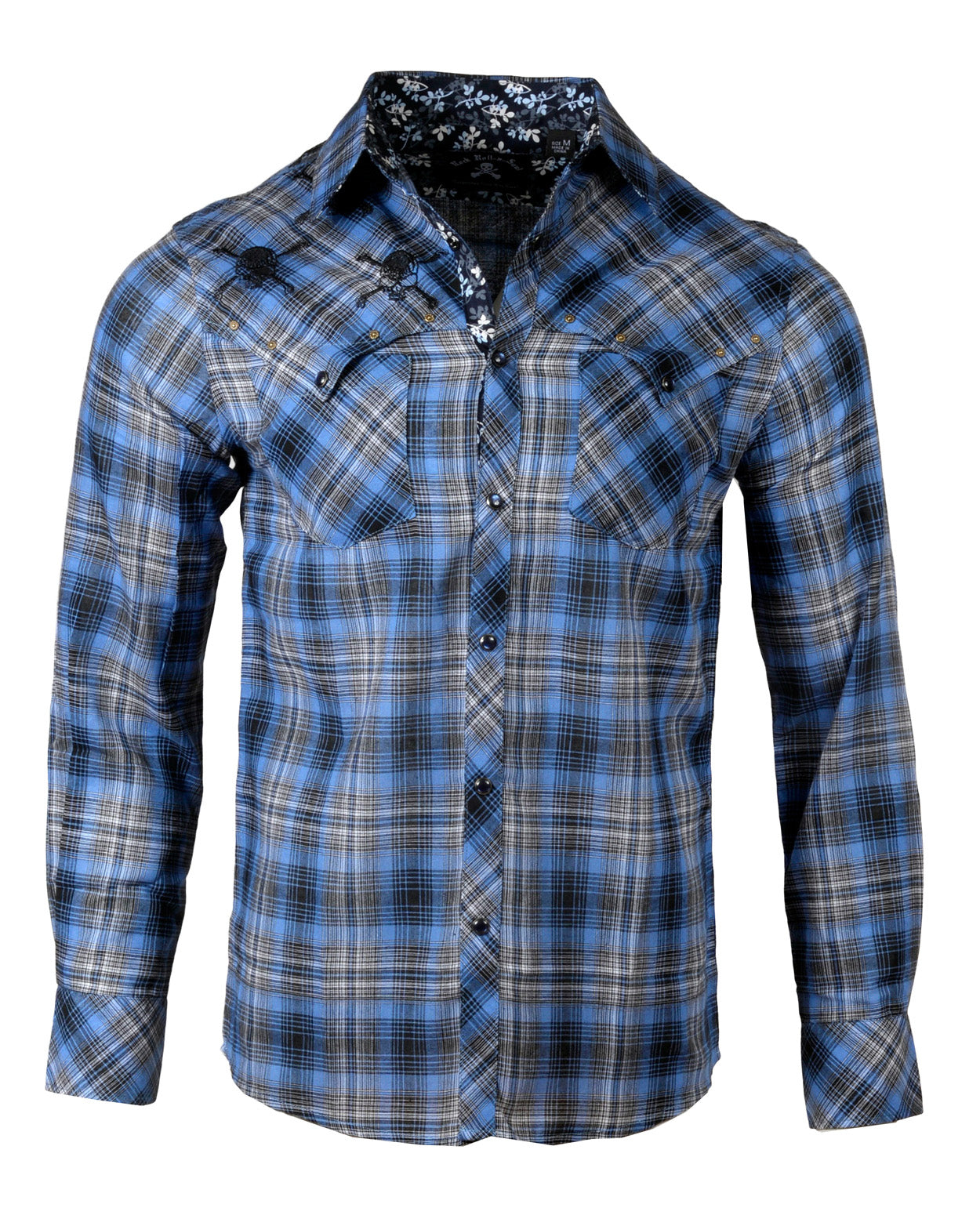 Men's Casual Fashion Button Up Shirt - Blue on Black by Rock Roll n Soul