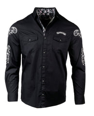 Men's Casual Fashion Button Up Shirt - Bad Boy Boogie II in Black by Rock Roll n Soul