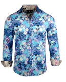 Men's Floral Casual Fashion Button Up Shirt - Walk on Water in Blue  by Rock Roll n Soul1
