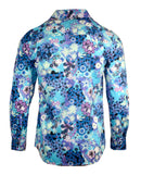Men's Floral Casual Fashion Button Up Shirt - Walk on Water in Blue  by Rock Roll n Soul2