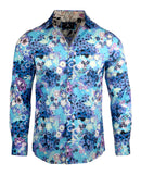 Men's Floral Casual Fashion Button Up Shirt - Walk on Water in Blue  by Rock Roll n Soul