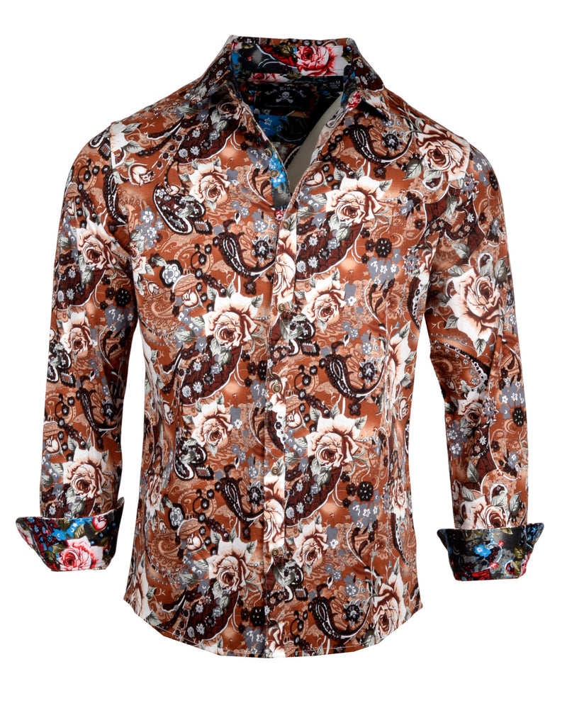 Men's Casual Fashion Button Up Shirt - Lola in Brown by Rock Roll n Soula