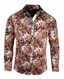 Men's Casual Fashion Button Up Shirt - Lola in Brown by Rock Roll n Soul