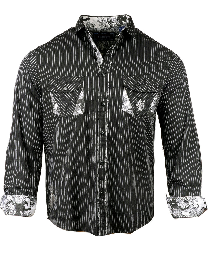 Men's Casual Fashion Button Up Shirt - Pre Order Paint it Black by Rock Roll n Soul1