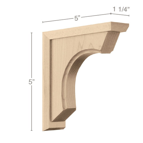 "Small Revival Corbel, 1 1/4""w x 5""h x 5""d"