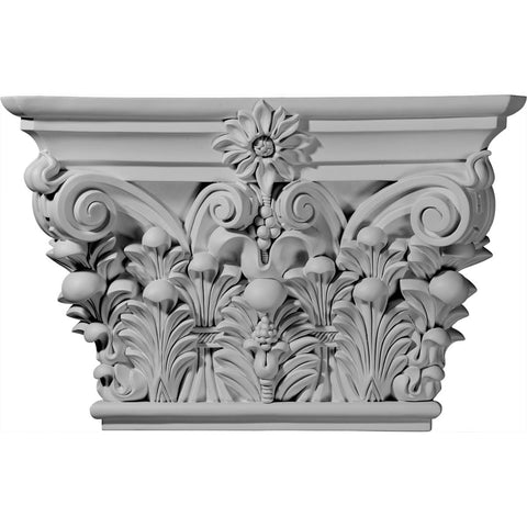 "Acanthus Leaf Capital (Fits Pilasters up to 15 5/8""W x 1 5/8""D), 24 1/8""W x 15 7/8""H x 6 3/4""D"