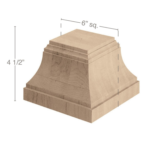 "Craftsman Column Base, 6""w x 4 1/2""h x 6""d, For use with 3 Square Columns."