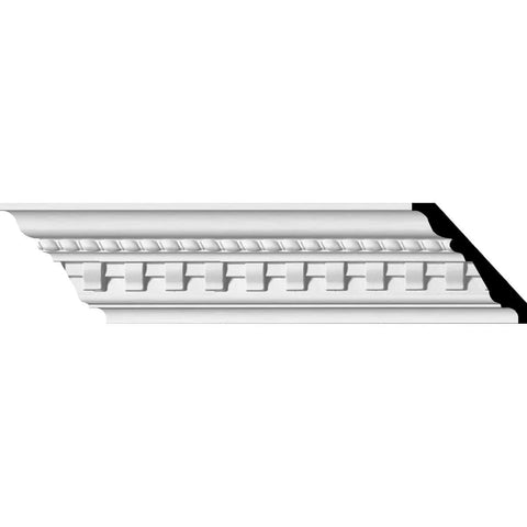 "Bulwark Dentil and Rope Crown Moulding, 3 1/2""H x 3 7/8""P x 5 1/8""F x 94 1/2""L, (1 3/8"" Repeat)"