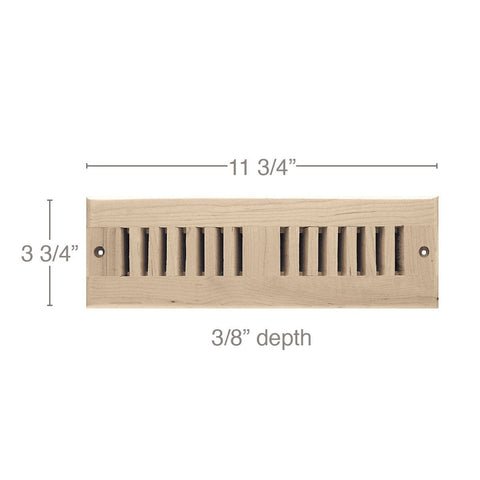 "2 x 10 Vent, 3 3/4"" x 3/8"" x 11 3/4"" length, Self Rimming Toe Kick Vent"