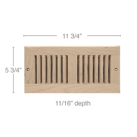 "4 x 10 Vent, 5 3/4"" x 11/16"" x 11 3/4"" length, Self Rimming Toe Kick Vent"