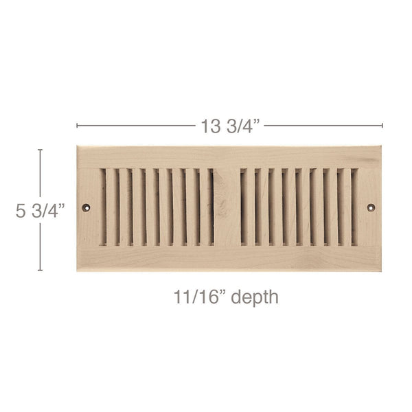 "4 x 12 Vent, 5 3/4"" x 11/16"" x 13 3/4"" length, Self Rimming Toe Kick Vent"