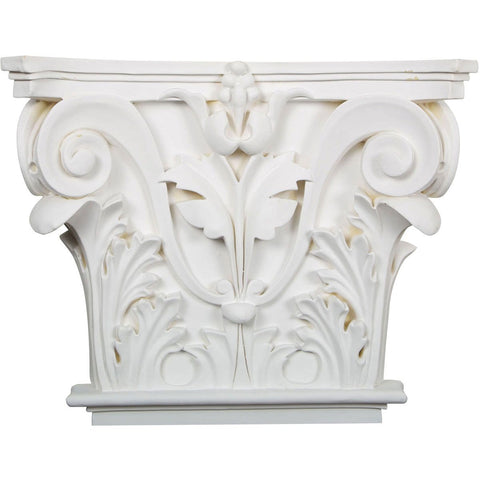 "Acanthus Leaf Onlay Capital (Fits Pilasters up to 10 5/8""W x 7/8""D), 16 1/2""W x 13 5/8""H x 3 3/4""D"