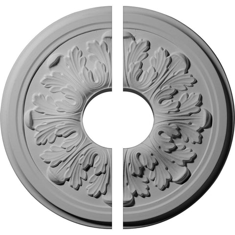 "Acanthus Ceiling Medallion, Two Piece (Fits Canopies up to 3 1/2"")12 3/4""OD x 3 1/2""ID x 7/8""P"