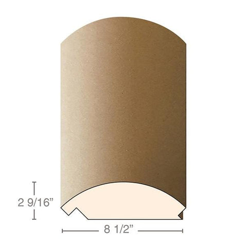 "MDF Radius Corners, J Corner (accepts 3/4"" plywood), 8 1/2""w x 2 9/16""h x 97""L"
