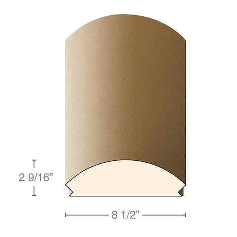 "MDF Radius Corners, L Corner (accepts 3/4"" plywood), 8 1/2""w x 2 9/16""h x 97""L"