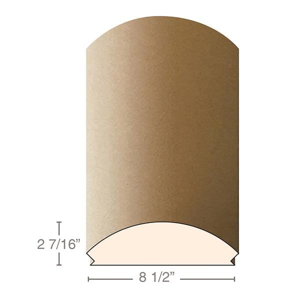 "MDF Radius Corners, L Corner (accepts 5/8"" plywood), 8 1/2""w x 2 7/16""h x 97""L"