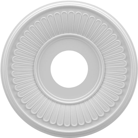 "Thermoformed PVC Ceiling Medallion (Fits Canopies up to 5 3/4""), 13""OD x 3 1/2""ID x 3/4""P"
