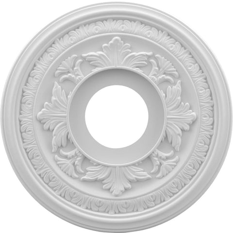 "Thermoformed PVC Ceiling Medallion (Fits Canopies up to 5 1/4""), 13""OD x 3 1/2""ID x 3/4""P"