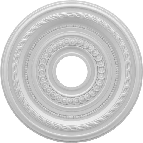 "Thermoformed PVC Ceiling Medallion (Fits Canopies up to 4 1/2""), 16""OD x 3 1/2""ID x 1""P"