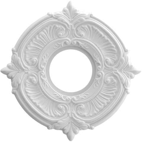 "Thermoformed PVC Ceiling Medallion (Fits Canopies up to 4 1/8""), 10""OD x 3 1/2""ID x 3/4""P"