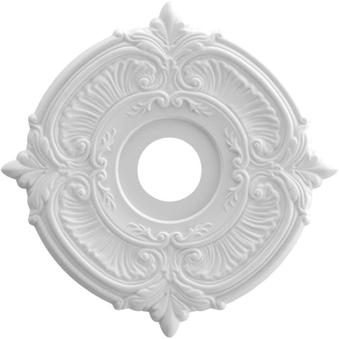 "Thermoformed PVC Ceiling Medallion (Fits Canopies up to 5 5/8""), 16""OD x 3 1/2""ID x 1""P"