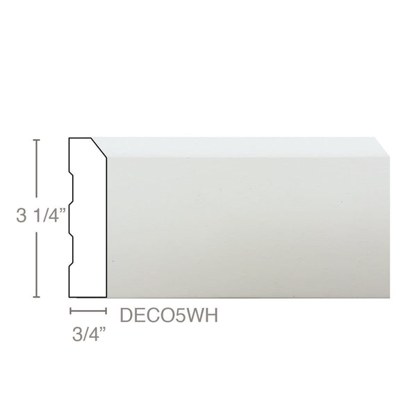 "Deco5 - Base, 3/4""W x 3 1/4""D x 16'L, Box (10 pcs 16', 160 LF), SEE FREIGHT NOTES UNDER DESCRIPTION, Freight starts at $110 per box"