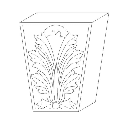 "Acanthus Keystone (Fits Casings up to 1 3/4 x 4 1/2 - 7), 6 1/2""w x 8""h x 1 3/4""d"