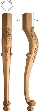 "Traditional Collection, Traditional Leg, 3 7/8""w x 31 1/2'""h x 3 7/8''d"