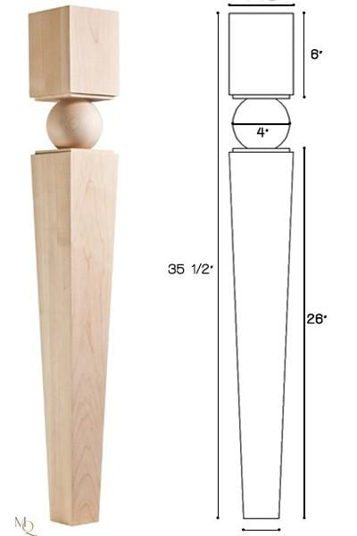 "Multiplicity Collection, Transitional Leg,  4 1/2""w x 35 1/2'""h x 4 1/2''d"