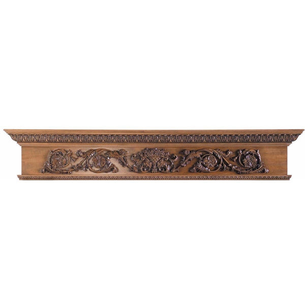 "Rinceau Scroll with Flower Basket, 72""w x 14""h x 8""d"