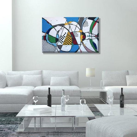 "Love Triangles, 30""H x 48""W acrylic abstract painting on 1"" ½"" wrapped canvas. Only one available."