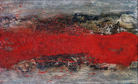 "Cascade of Fire, 48""H x 30""W mixed media acrylic/oil painting on 1"" ½"" wrapped canvas. Only one available."