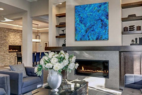 "Blue Sky, 40""H x 40""W acrylic abstract painting on 1 ½"" wrapped canvas. Only one available."