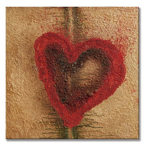 "Burnt Love, 40""H x 40""W acrylic and oil painting on 1 ½"" wrapped canvas painting. Only one available."