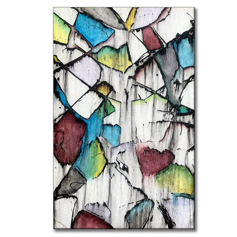 "Facets #2, 48""H x 30""W acrylic abstract painting on 1 ½"" wrapped canvas. Only one available."