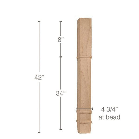 "Transitional Square Bar Column, 4 3/4""sq. x 42""h"