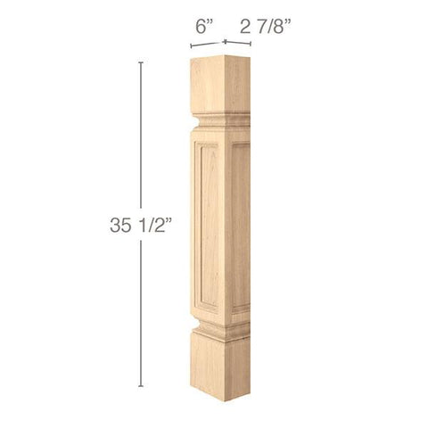 "Medium Traditional Column Half, 6"" sq. x 35 1/2""h"