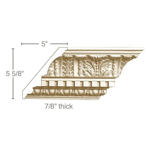 Large Acanthus with Dentil (Repeats 7 1/2), 7 1/2''w x 7/8''d